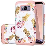 Fingic Galaxy S8 Case,Pineapple S8 Cases, Floral Pineapple Ultra Thin Case Hard PC Soft Rubber Anti-Scratch Protective Case for Women Girls Cover for Samsung Galaxy s8 2017 ONLY,Pineapple/Rose Gold