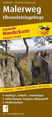 Malerweg Elbsandsteingebirge: Leporello Wanderkarte mit Ausflugszielen, Einkehr- & Freizeittipps, wetterfest, reissfest, abwischbar, GPS-genau. 1:25000 (Leporello Wanderkarte: LEP-WK)