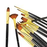 12 pennelli professionali per pittura acrilica, kit di pennelli per acquerello per bambini e adulti