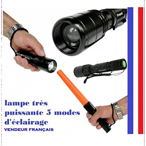 388 kidi Lampe torche Q5 F de France A 0515 Q5 Lampe de poche LED CREE, rechargeable, Rose avec sac de rangement, portée de plus de 300 m, 5 lumineux avec SOS, bouton d'urgence, 1 batterie rechargeable incluse