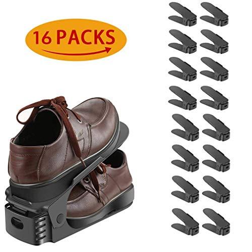 lodogsow 16PCS Schuhstapler, Schuh Slots für große Schuhe, 3 höhenverstellbar, Schuh-Organizer,...