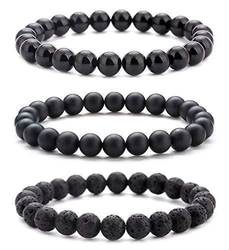 Hamoery Men Women 8mm Natural Stone Beads Bracelet Set Gifts for Boys Elastic Yoga Agate Bracelet Bangle (Set 2)
