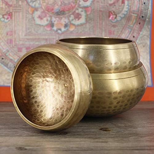 Tibetaanse Singing BowlPure koper handgemaakte Brahma meditatie koper Boeddha geluid yoga decoratie kom zingen Nepalese muziek therapie kom meditatie instrument schaal gele kom: 8,5 cm