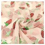 Erdbeer-Paillettenstoff, Chiffon, bestickt, Netzstoff,