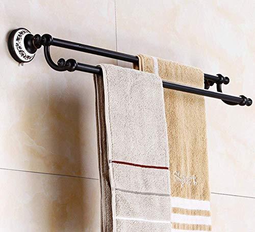 DLC Badezimmerzubehör Schwarz Doppelhandtuchhalter Schwarz Antiker Handtuchhalter American Rack Wandbehang Hardware -62Cm