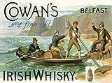 plaque métal 40x30 cm whisky irlandais irish whisky cowan's