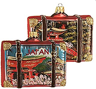 Japanese Japan Suitcase Pagoda Polish Glass Christmas Ornament Travel Souvenir