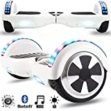 Magic Vida Skateboard Électrique 6.5' Bluetooth Puissance 700W Deux Barres LED Gyropode Auto-Équilibrage de Bonne qualité Blanc