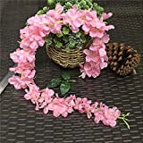 XFLOWR 17pcs / Lot 120cm Cherry Blossom Artificial Flowers Rattan Hydrangea Vine for Wedding Backdrops Decoration Wall Hanging Flores Deep Pink