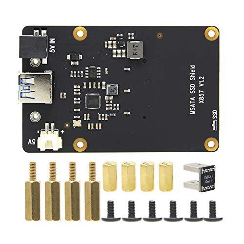 Geekworm Raspberry Pi 4 mSATA SSD Adapter X857, Raspberry Pi 4 Model B X857 mSATA SSD Expansion Board USB3.0 Module for Raspberry Pi 4B