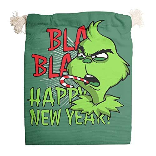 Pack de 6 bolsas de tela con cordón de Grin-ch Frohe Navidad reutilizables, para el producto de Acción de Gracias, bodas, regalos, 20 x 25 cm, color blanco