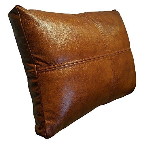 Antiek bruin echt lederen kussen 50 x 50 cm bank & stoel decoratie kussen echt leer rugkussen rundleer leer sierkussen model P&Z4el