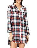 Women' Secret Camisola Corta Estampado Cuadros Camisa de Noche, Kaki Oscuro, S para Mujer