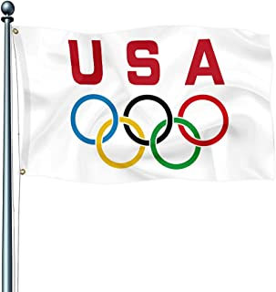 USA Olympic Game Flag Banner Vivid Color and UV Fade Resistant with 2 Grommets 3X5 FT