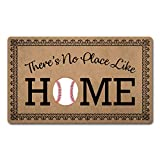 ZC Welcome Mat Funny Doormats Anti-Slip Mat for Entrance Way Indoor/Kitchen Mats and Rugs Welcome Area Rugs Rubber Mat 18'(W) x 30'(L) (There's No Place Like Home Baseball Home Plate)