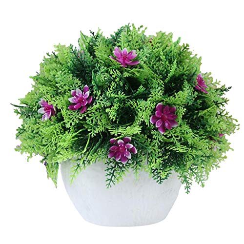 Flikool Künstliche Pflanzen mit Topf Gefälschte Künstliche Blumen Simulation Gras Bonsai Topfpflanzen Kunstblumen Kunstpflanzen Ornaments Dekorationen 18 * 20 cm - Lila