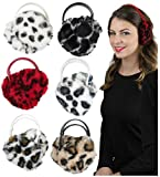 ToBeInStyle Women's Pack of 6 Fuzzy Animal Print Earmuffs - One Size