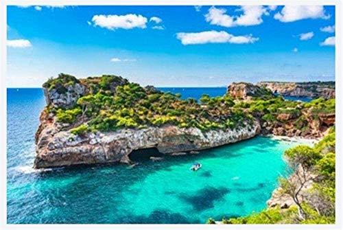 XIANWEI Puzzle de 1000 Piezas España Mediterránea Mallorca Playa de Cala Moro para Amigos Adultos