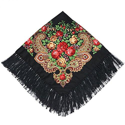 Kingree 100% Cotton Muffler, Warm Scarf with Tassel, Russian Style Large Bandana, Wrap Shawl Stole With Fringes (JF05-Black)