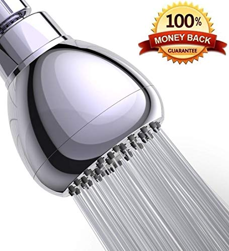 Premium 3 Inch High Pressure Shower Head -Best Pressure Boosting Fixed Showerhead, Adjustable Metal Swivel Ball Joint, Water Saving Rain Showerhead For Low Flow Showers-Polished Chrome