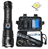 BRIGHTEK Most Powerful XHP50 Rechargeable Tactical Flashlight Waterproof Zoomable Best Camping Emergency High Lumens Flashlights with USB & 26650 Battery Included (1 Full Set)