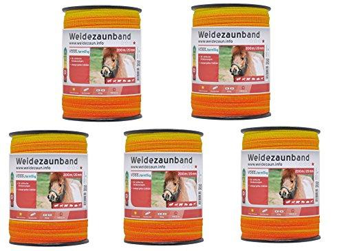 VOSS.farming Sparpreis: 5X (200m x 20mm) Weidezaunband orange Leitermaterial: 4x0,16 NIRO - insgesamt 1000 Meter Elektrozaunband