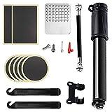 Qiwenr 100PSI Bomba para Bicicleta,Mini Bomba de Bicicleta con Kit de Reparación e Instalación de Neumáticos,Set Completo Aguja Kit De Parche Tapas De VáLvulas Y Montura De Marco(15Pcs)