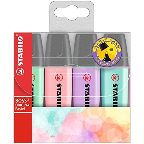 Evidenziatore - STABILO BOSS ORIGINAL Pastel - Astuccio da 4 - Colori assortiti