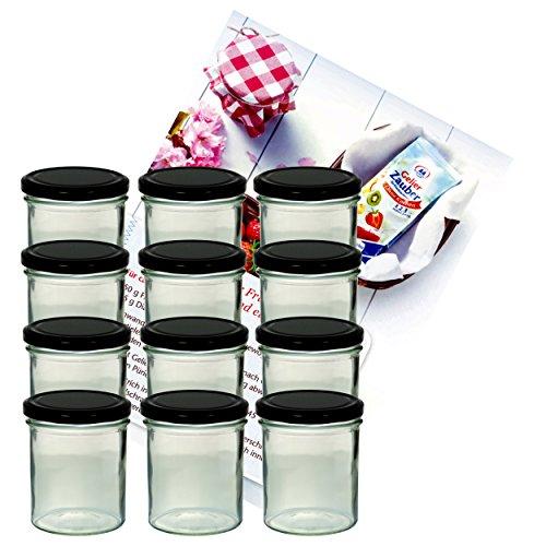 MamboCat 12er Set Sturzglas 350 ml Marmeladenglas Einmachglas Einweckglas to 82 schwarzer Deckel incl. Diamant-Zucker Gelierzauber Rezeptheft