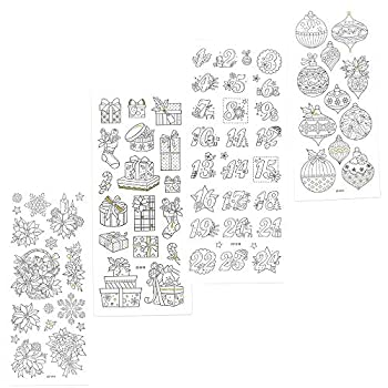 JourneyCraft - Christmas Scrapbook Stickers   Art Therapy Coloring Planner Stickers   Color Me Holiday Stickers for Scrapbooking   Card Making Stickers for Adults & Kids