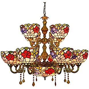 12 Heads Tiffany Style Chandeliers Vintage Stained Glass Pendant Lights for Living Room, Bedroom, Kitchen Crystal Art Decoration Ceiling Pendant Lamp E27X15, 110-240V (Bulbs Not Included)