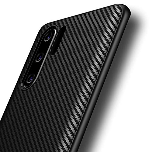 AVANA Hülle für Huawei P30 Pro, P30 Pro New Edition Schutzhülle Flexibles Slim Hülle Schwarz Schutz Silikon TPU Kratzfest Kohlefaser Handyhülle Bumper Cover Carbon Optik