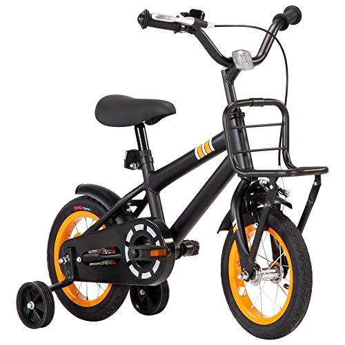 Autoshoppingcenter Bicicletta per Bambini 2-4 Anni con Ruote da 12 Pollici con Rotelle Laterali Pedali Portapacchi Anteriore Freni Anteriori e Posteriori Luci Manubrio Sella Regolabile[EU Stock]