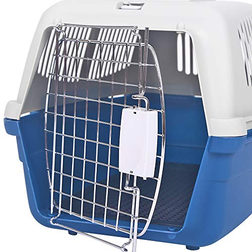 Pet Air Box Dog air Cage Chat Chiot Check Cage Avion Cage d'air Teddy Golden Hair Box Fournitures pour Animaux de Compagnie,Blue,M
