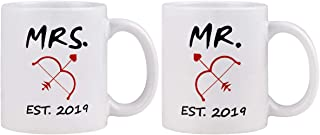 Couple Coffee Mug Mr and Mrs with Arrow Couple Coffee Cup Set of 2 Mug Novelty Gift Present for Valentine's Day Bridal Shower Wedding Engagement Anniversary Newlyweds