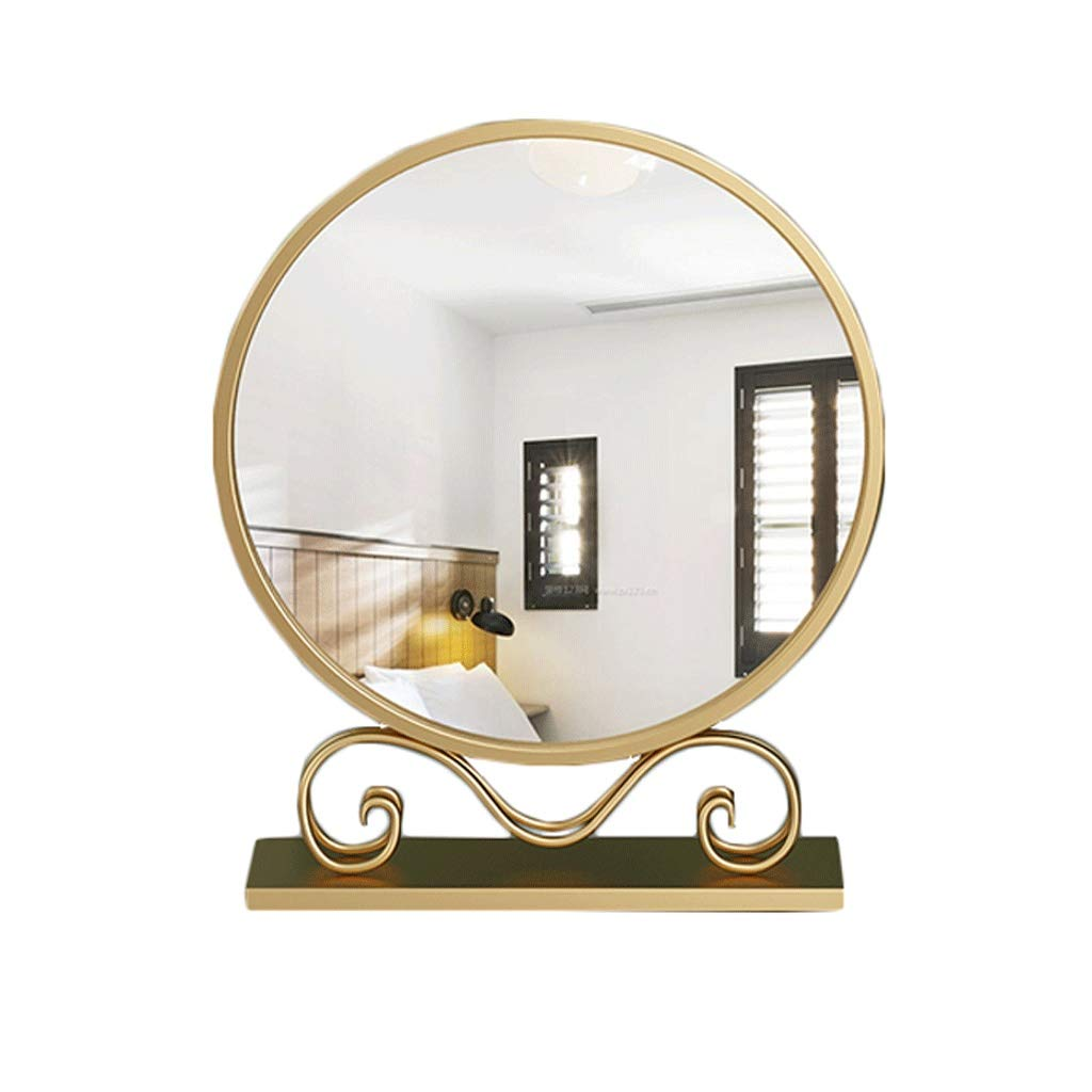 Makeup Mirror ,Golden Round Desktop Max 40% OFF Dressing HD Boston Mall