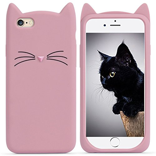 Funda para iPhone 6, iPhone 6s, MC Fashion Cute 3D Pink Meow Party Cat Earars Kitty Whiskers Soft Silicone Case Cover para Apple iPhone 6/6S (rosa)