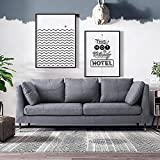 Panana 3 Seater Sofa Fabric Grey Sofa Settee Couch for Living Room Office Lounge, Cushions Included