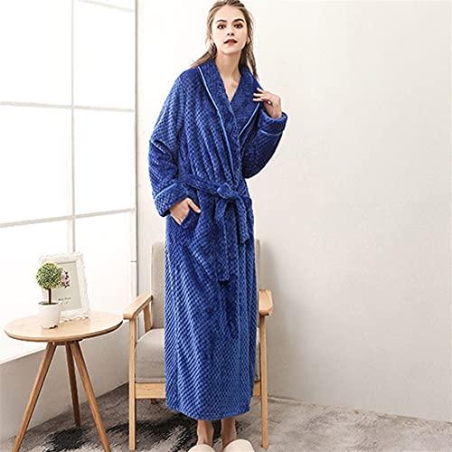 Albornoz de mujer Otoño Invierno Warmwear Homewear Terry Robe manga larga casual vestido de aderezo más tamaño (Color : Blue, Size : X-Large)