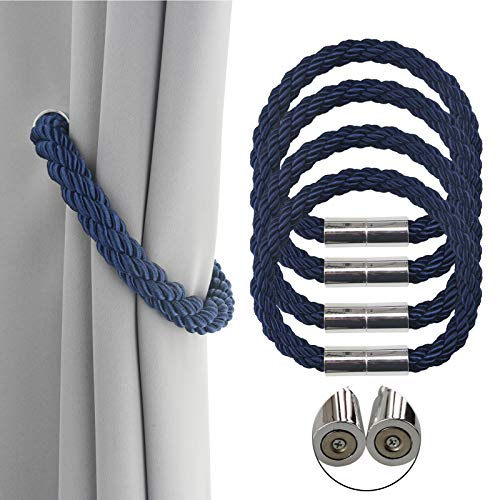 Porlau 4 Pack Strong Magnetic Curtain Tiebacks Decorative Rope Holdbacks Convenient Ties Backs for Thin or Thick Window Draperies No Tools Required 19.7in- Navy