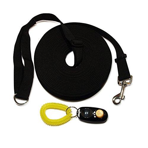Hundetrainingsleine und Clicker. Weitreichende, schwarze 15m / 50ft Langleine zum Gehorsamkeitstraining für Hunde und Welpen mit komplettem Satz Trainingsanleitungen.