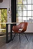 KAWOLA Essgruppe 9-Teilig mit Esstisch Baumkante Fuß schwarz 180x90cm und 8X Stuhl ZAJA Kunstleder Cognac