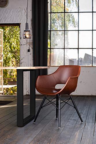 KAWOLA eettafel 9-delig met eettafel boomrand voet zwart 180x90 cm en 8X stoel ZAJA kunstleer cognac