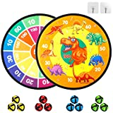 JURSTON Board Games for Kids, Dart Board for Kids, Dinosaur Board, Indoor Outdoor Classic Games, 2PC Diameter 14.2 Inches with 12 Sticky Balls