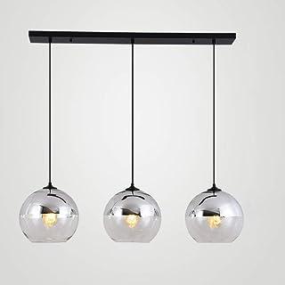 Dsrgwe Lamparas Techo Colgantes, Industrial Vintage Modern Loft Bar Lámpara Accesorio Edison Lámpara de Techo Colgante Iluminación 3 Luces con Globo Pantalla de Vidrio (Color : Silver)