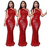 YANFANG Vestido Elegante Largo Mujer,Vestido de Noche Ajustado de Lentejuelas Rojo Ajustado Sexy sin Mangas con Cuello Inclinado para Mujer, XL,Red