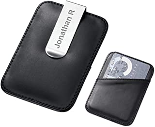 Executive Gift Shoppe Personalized Magnetic Money Clip Securely Holds Up to 15 Folded Bills Open Flap Design Classic Black Leather Free Customization Alternative to Bulky Wallets