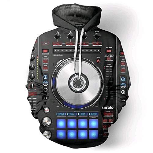 XYL HOME Hooded trui, mannen en vrouwen realistische 3D printen DJ mixer trui met capuchon hoodie grote zak