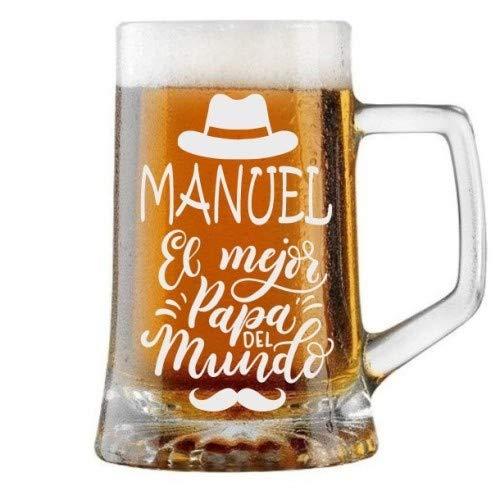 Jarra de Cerveza Personalizada Día del Padre SOMBRERO Y BIGOTE Regalo Grabado y...