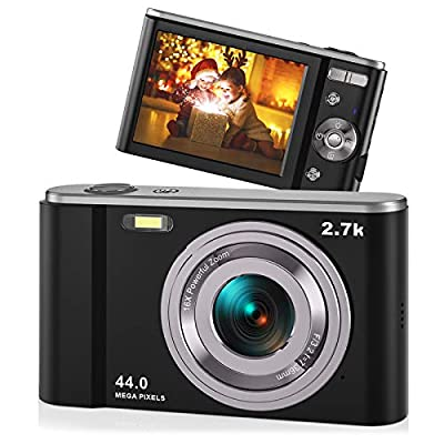"44MP Small Digital Camera for Photography Beginners, 2.7K Vlogging Camera 2.88"" IPS 16X Digital Zoom Rechargeable Point and Shoot Camera for Kids Teens Christmas,Thanksgiving Days,Birthdays Gift"